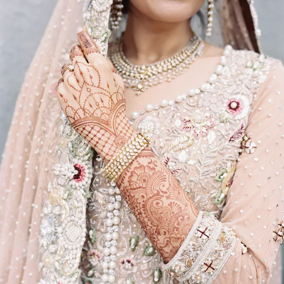 Indian bride with henna tattoo