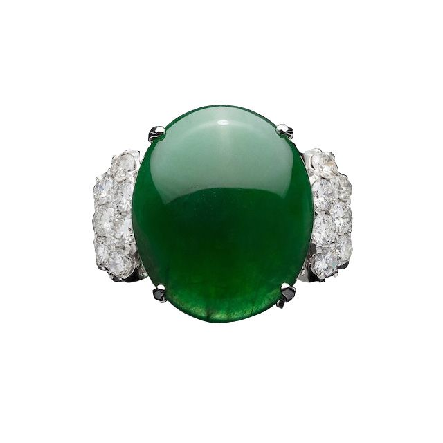 66mint Exceptional GIA Natural Jadeite Imperial Jade & Diamond Ring