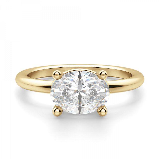 Diamond Nexus East-West Classic Basket Oval Cut Engagement Ring