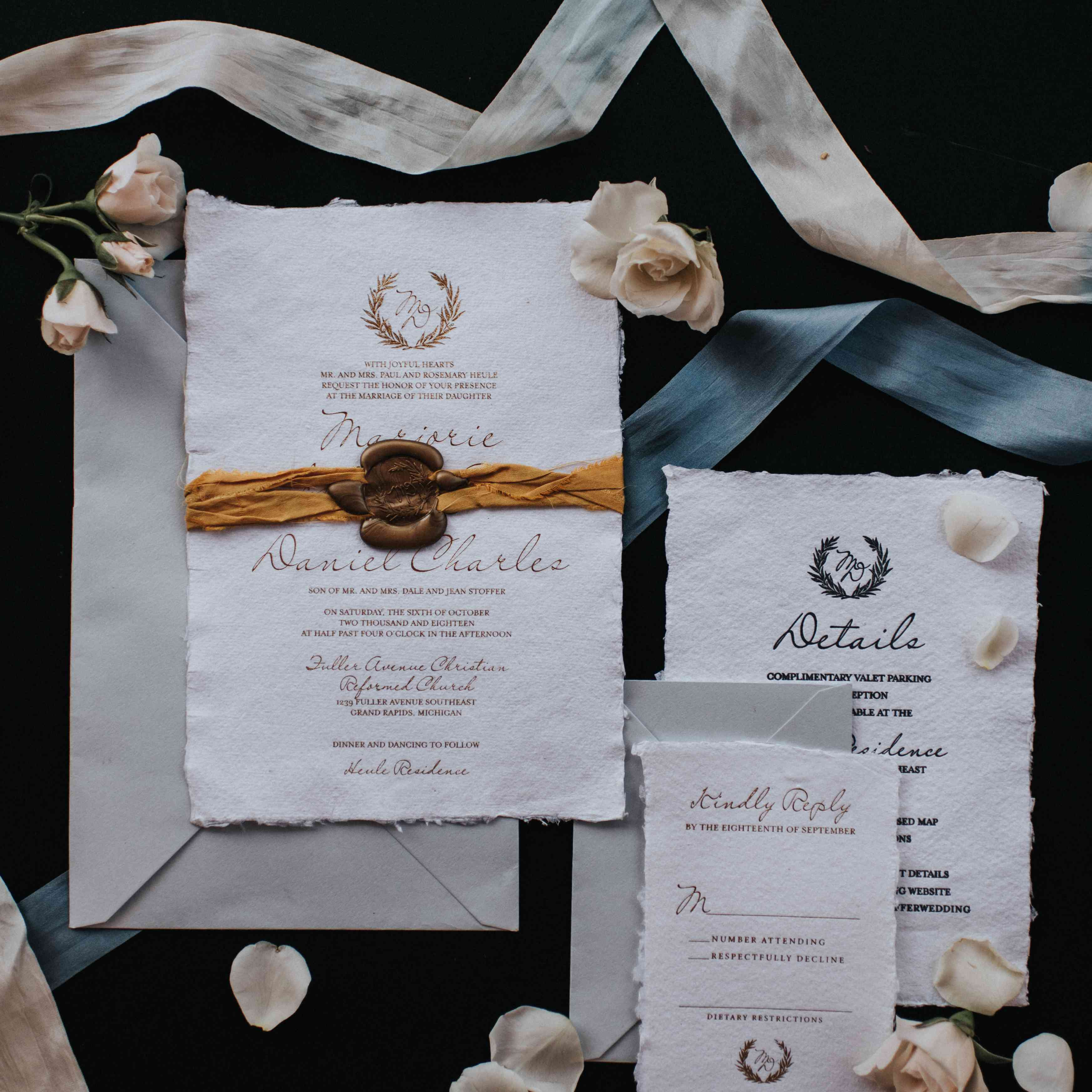 personalized michigan wedding, fall wedding invitations