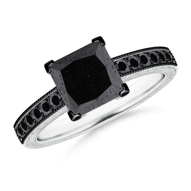 Angara Princess Cut Black Diamond Solitaire Ring