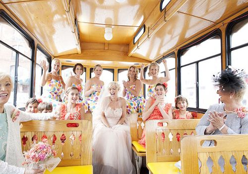 Bridal party on a bus