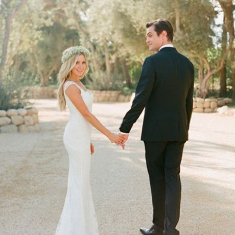 Ashley Tisdale marries Christopher French in Monique Lhuillier, 2014