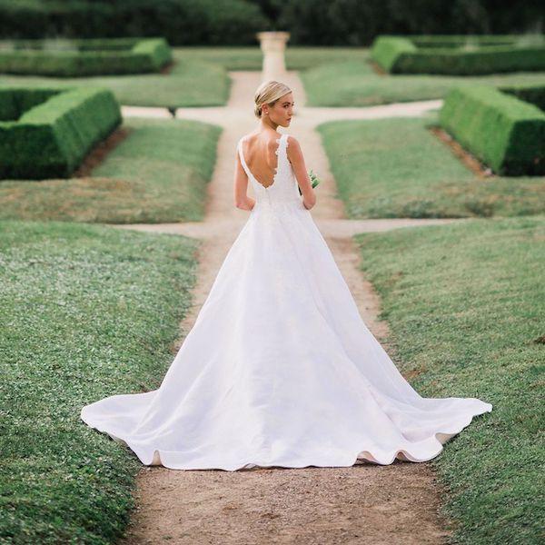 Bride wearing an A-line wedding gown