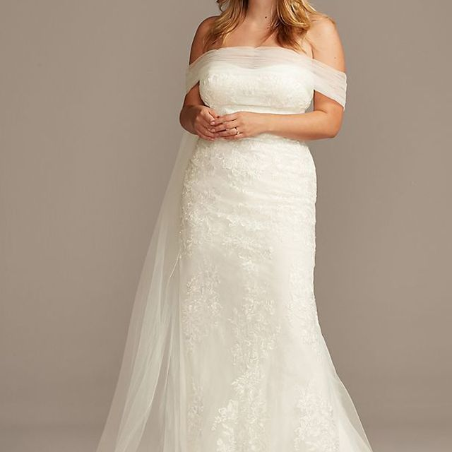 David's Bridal Collection Tulle Floral Off-Shoulder Plus Size Wedding Dress $374.50, was $749