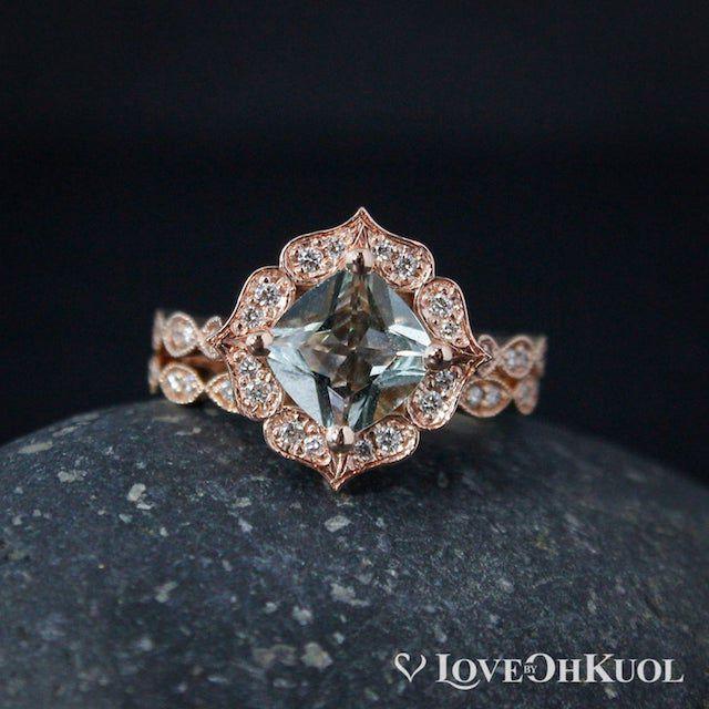 Oh Kuol Vintage Flower Aquamarine Engagement Ring Set
