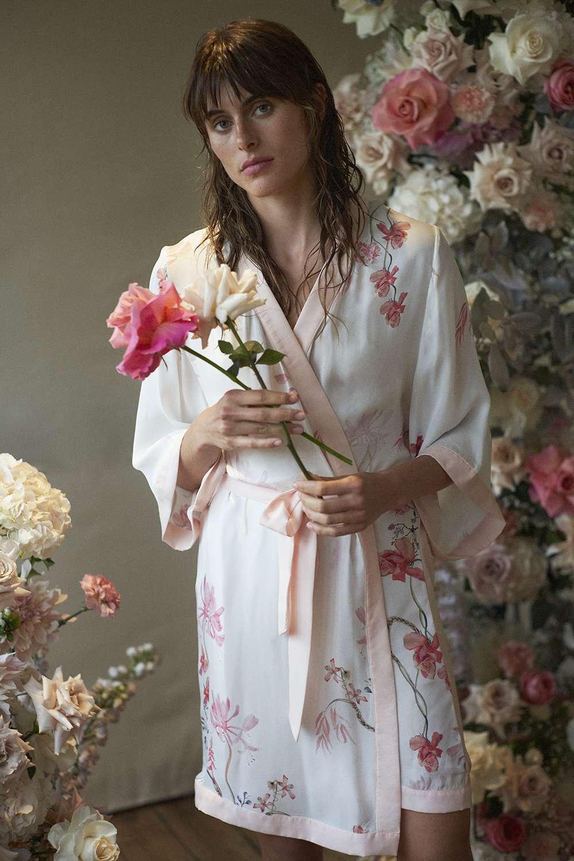 Model in floral bridal robe