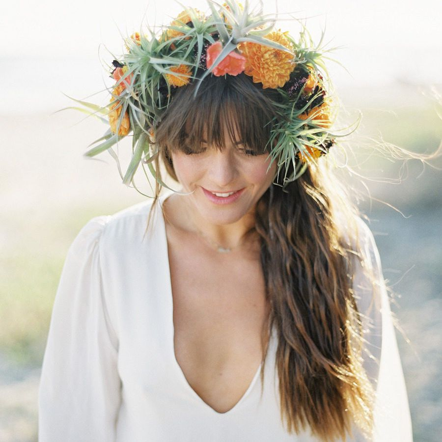 Wavy Ponytail with Flower Crown