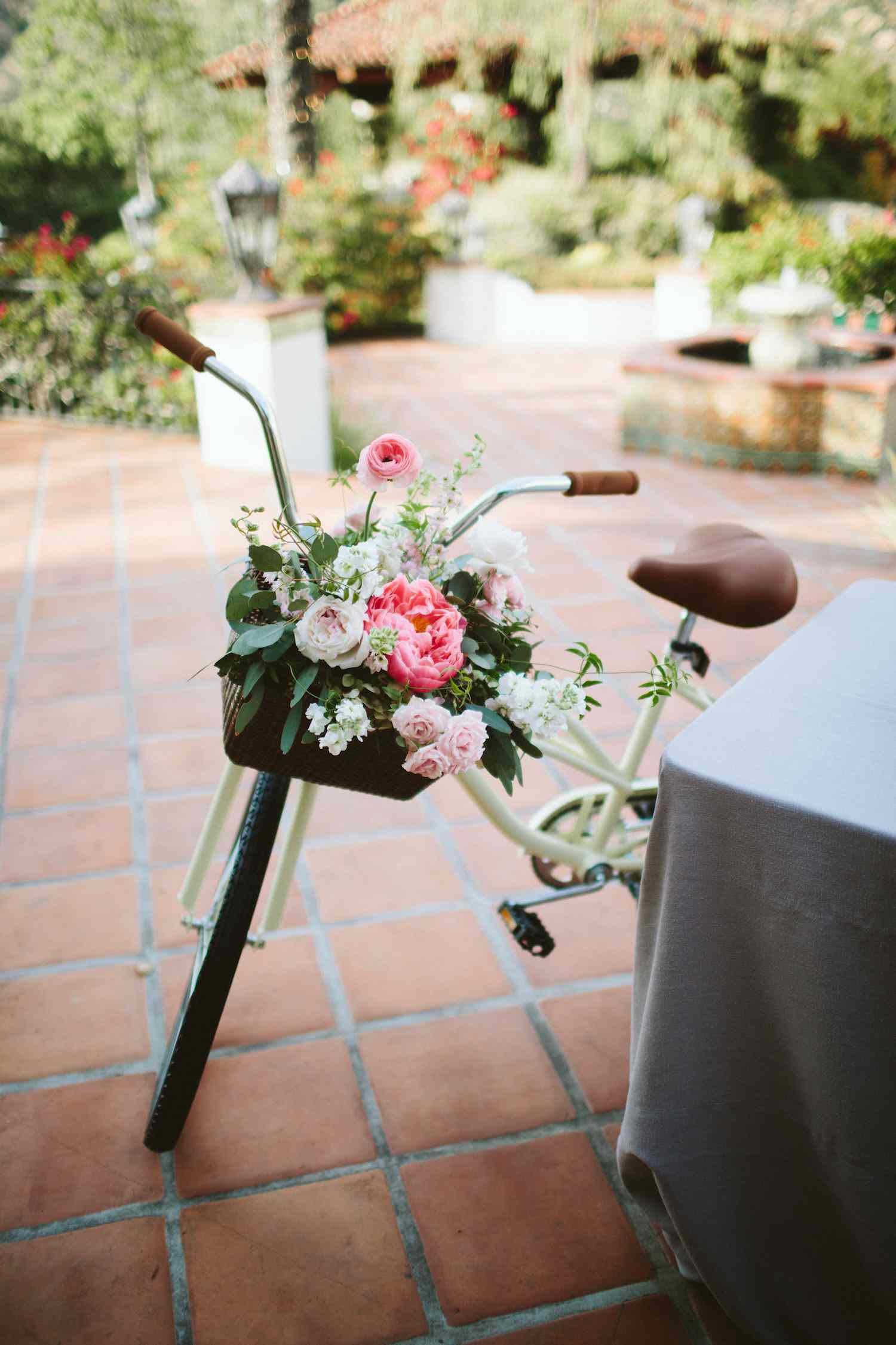 Bike with flowers in basket