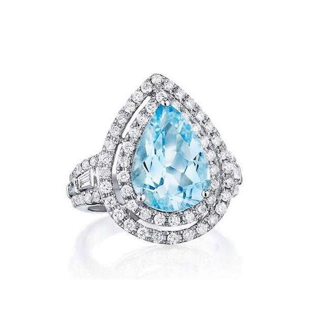 J.R. Dunn White Gold Teardrop Aquamarine and Diamond Double Halo Ring