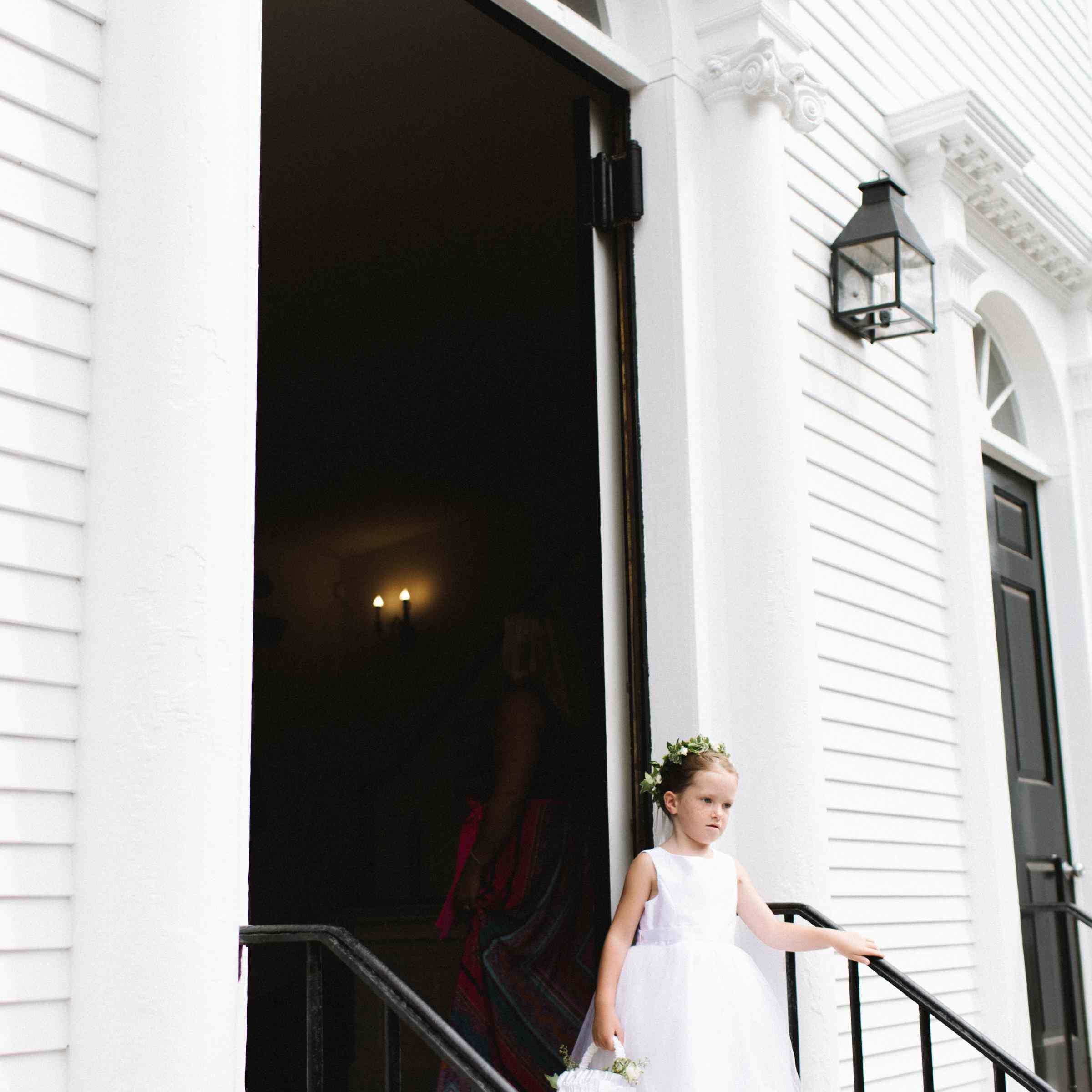 Flower girl outside church