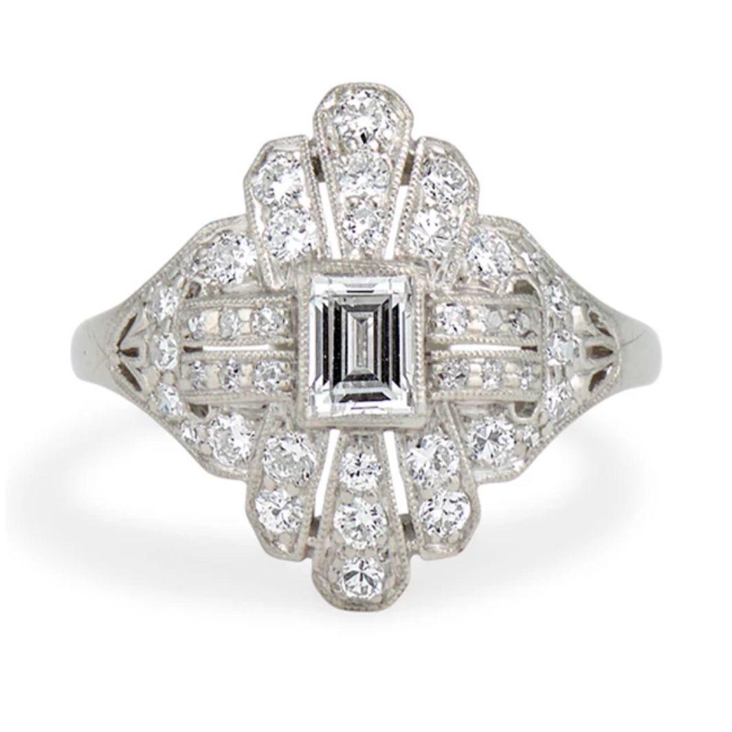 Erstwhile Jewelry Art Deco Diamond Engagement Ring
