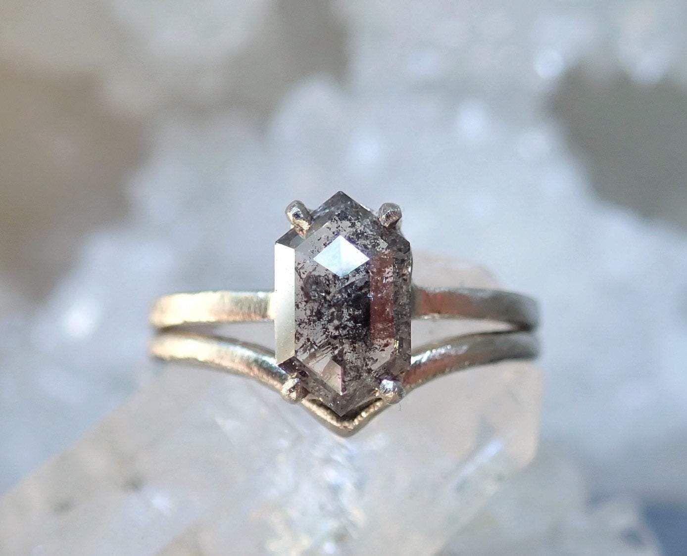 MossnStone Salt and Pepper Elongated Hexagon Diamond Ring