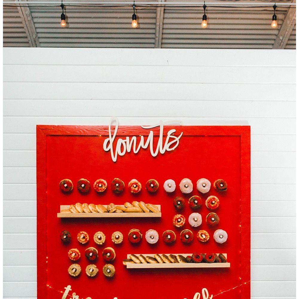 Red Treat Yo' Self Doughnut Wall For a Wedding