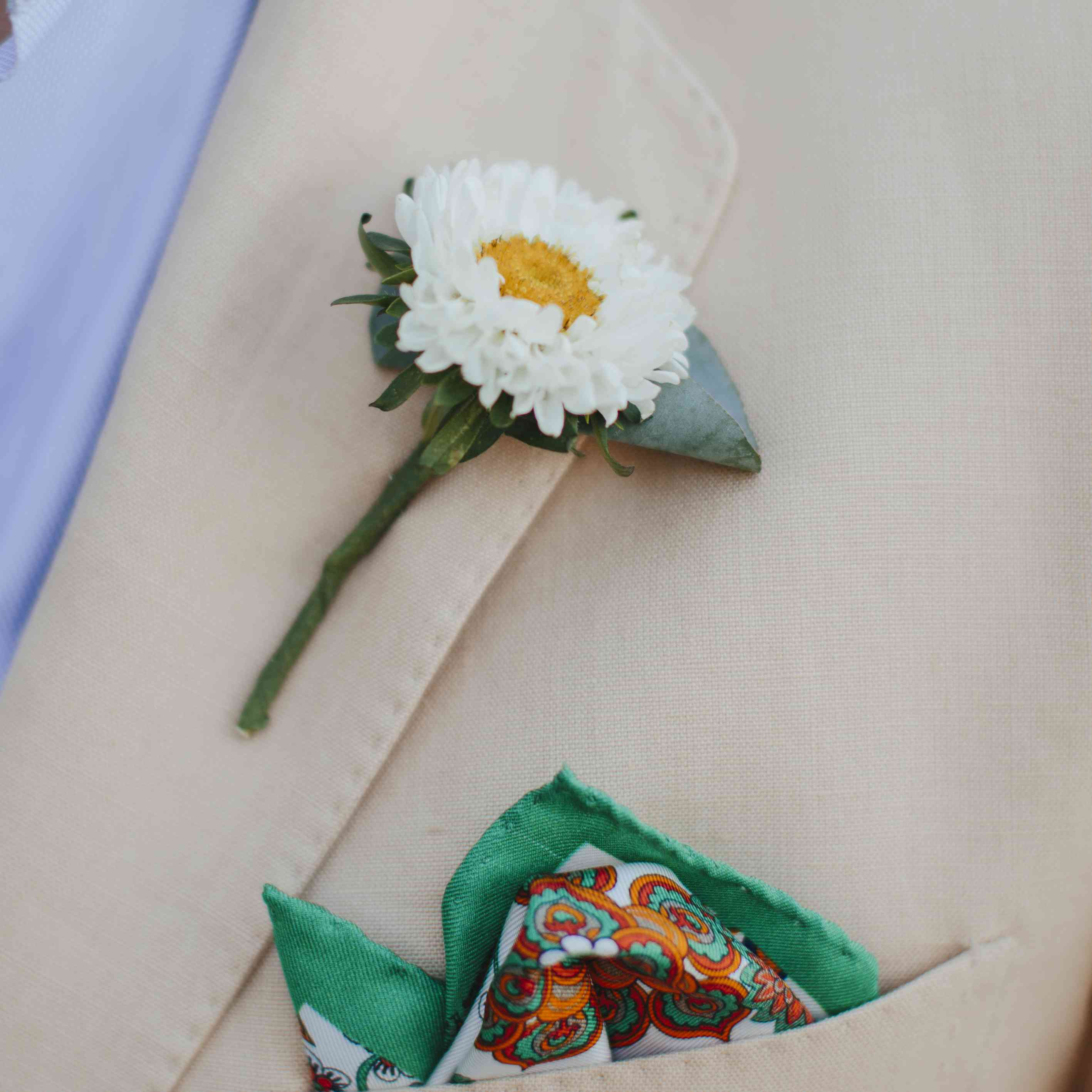pocket square and groom's Boutonniere