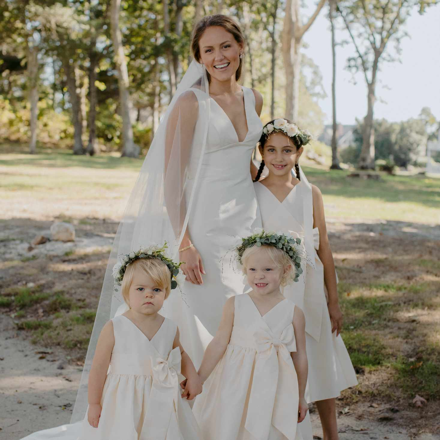 at-home rustic massachusetts wedding, bride with flower girls