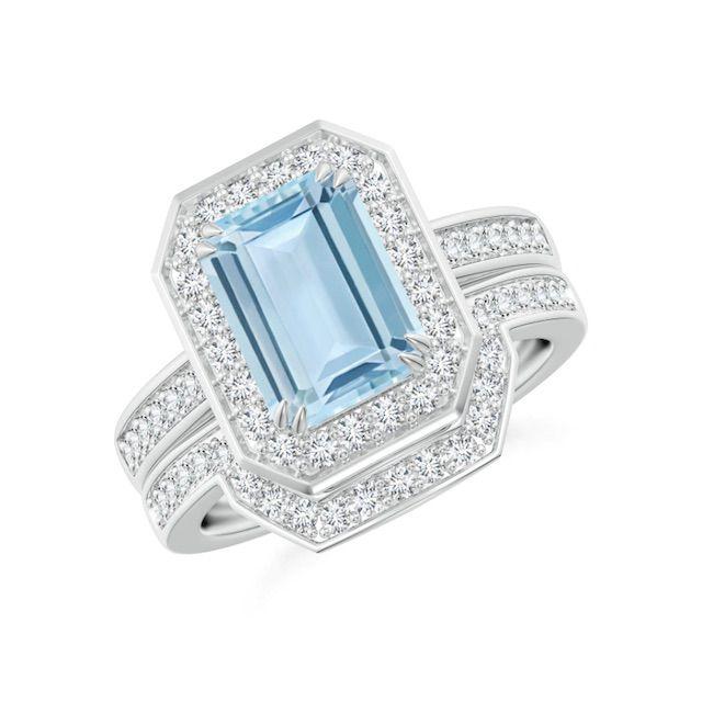 Angara Emerald Cut Aquamarine Bridal Ring Set with Diamond Band