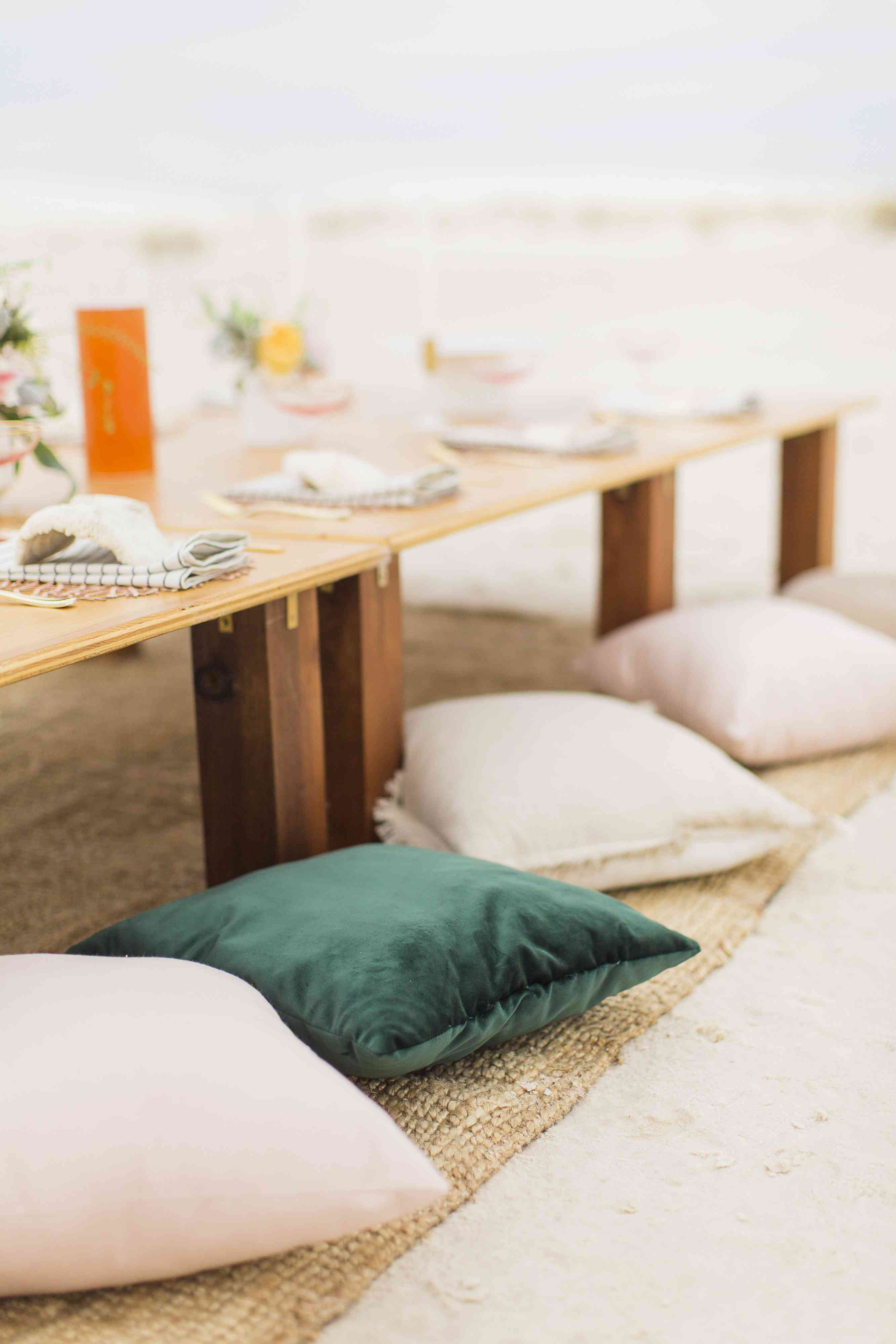 Reception Table With Floor Cushions