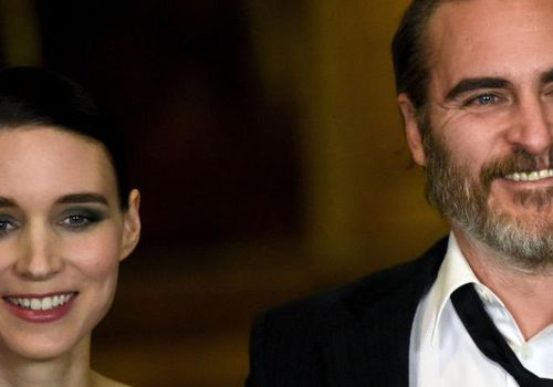 Rooney Mara and Joaquin Phoenix attend the 'Mary Magdalene' special screening held at The National Gallery on February 26, 2018 in London, England.