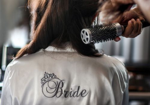 Bride hair drying