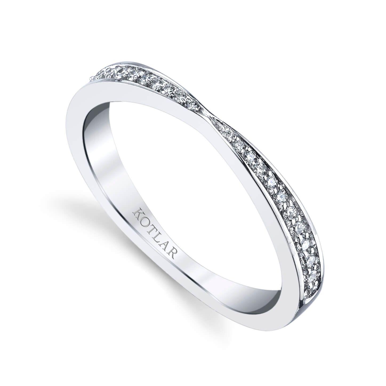 Harry Kotlar Criss-Cross Platinum Band With Melee Diamonds