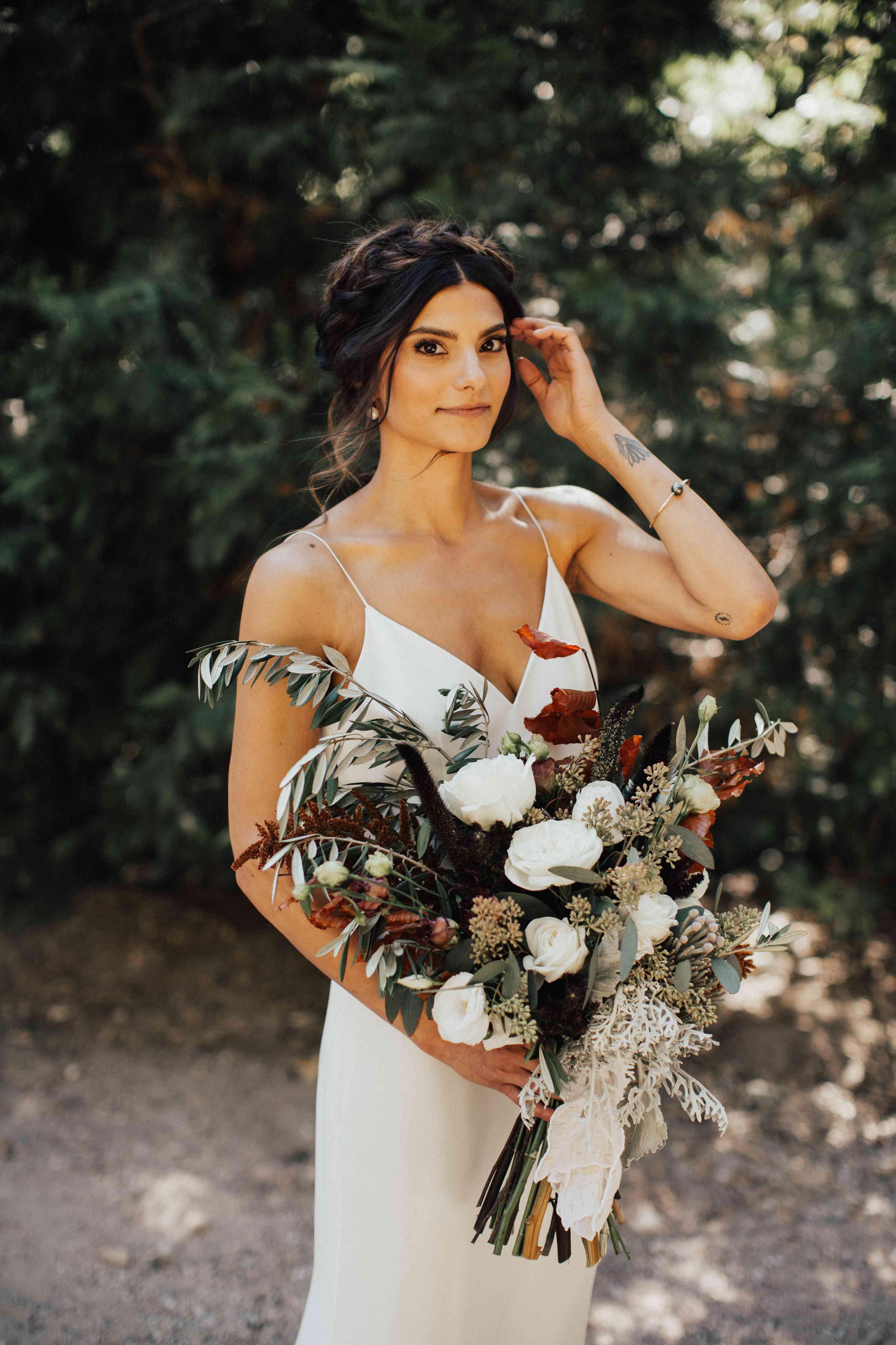 bride with milkmaid braids
