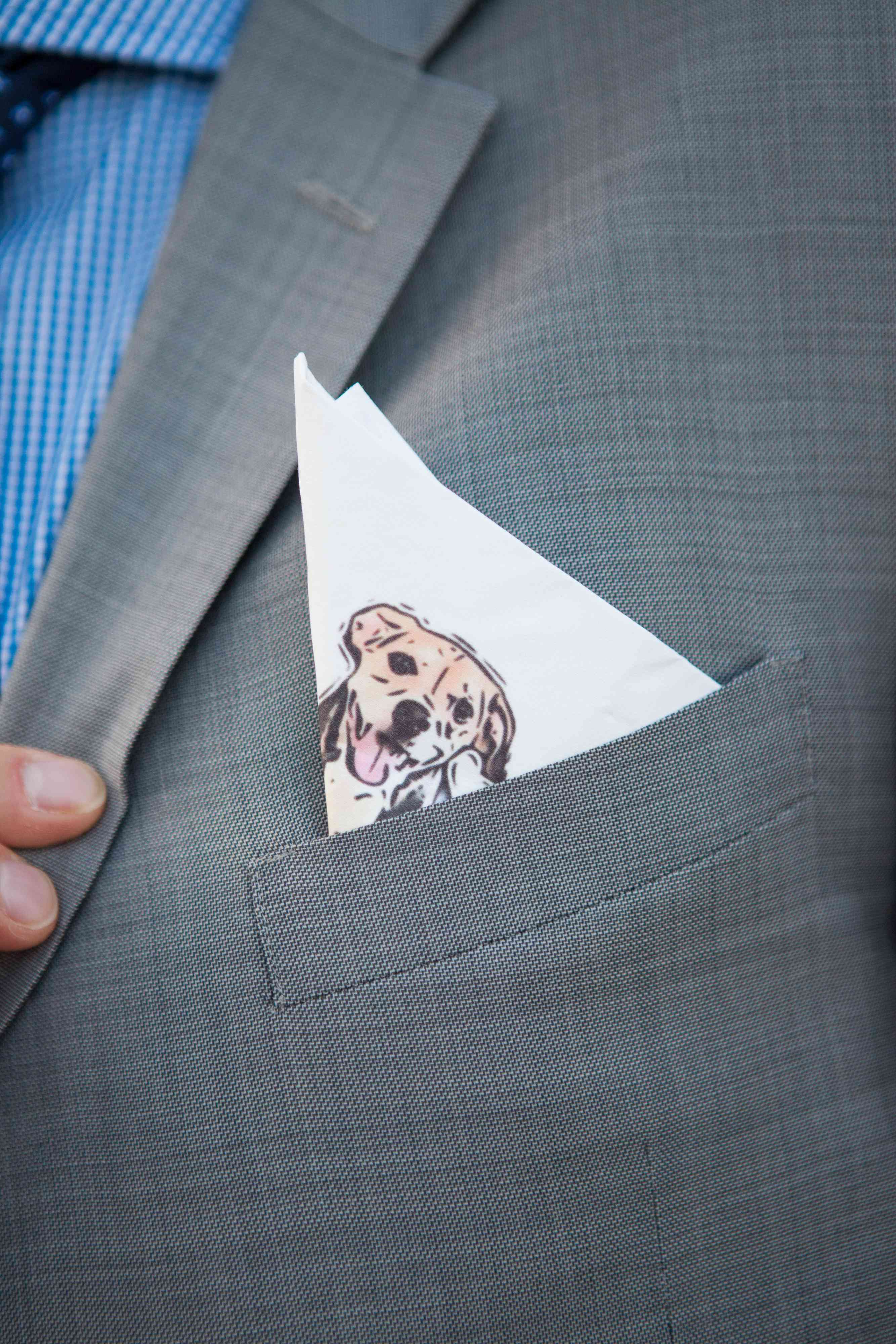 Dog illustration on pocket square