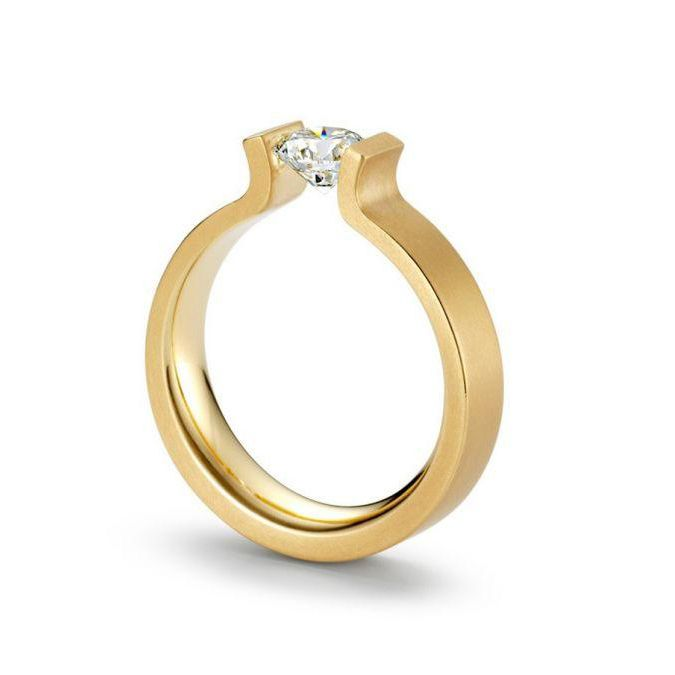 Yellow Gold and Tension-Set Diamond Engagement Ring