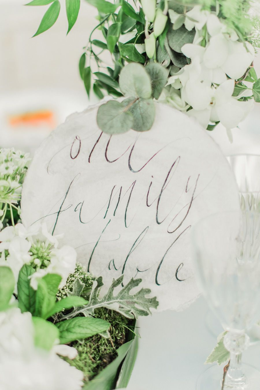 Calligraphy wedding table sign.