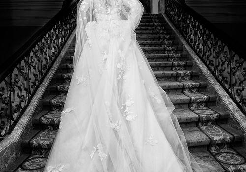 Bride in Custom Marchesa Dress