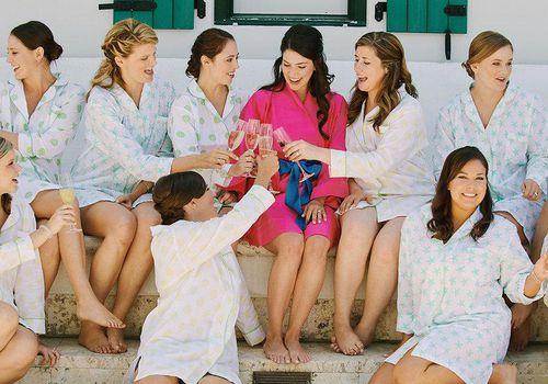 bridesmaids in matching pajamas