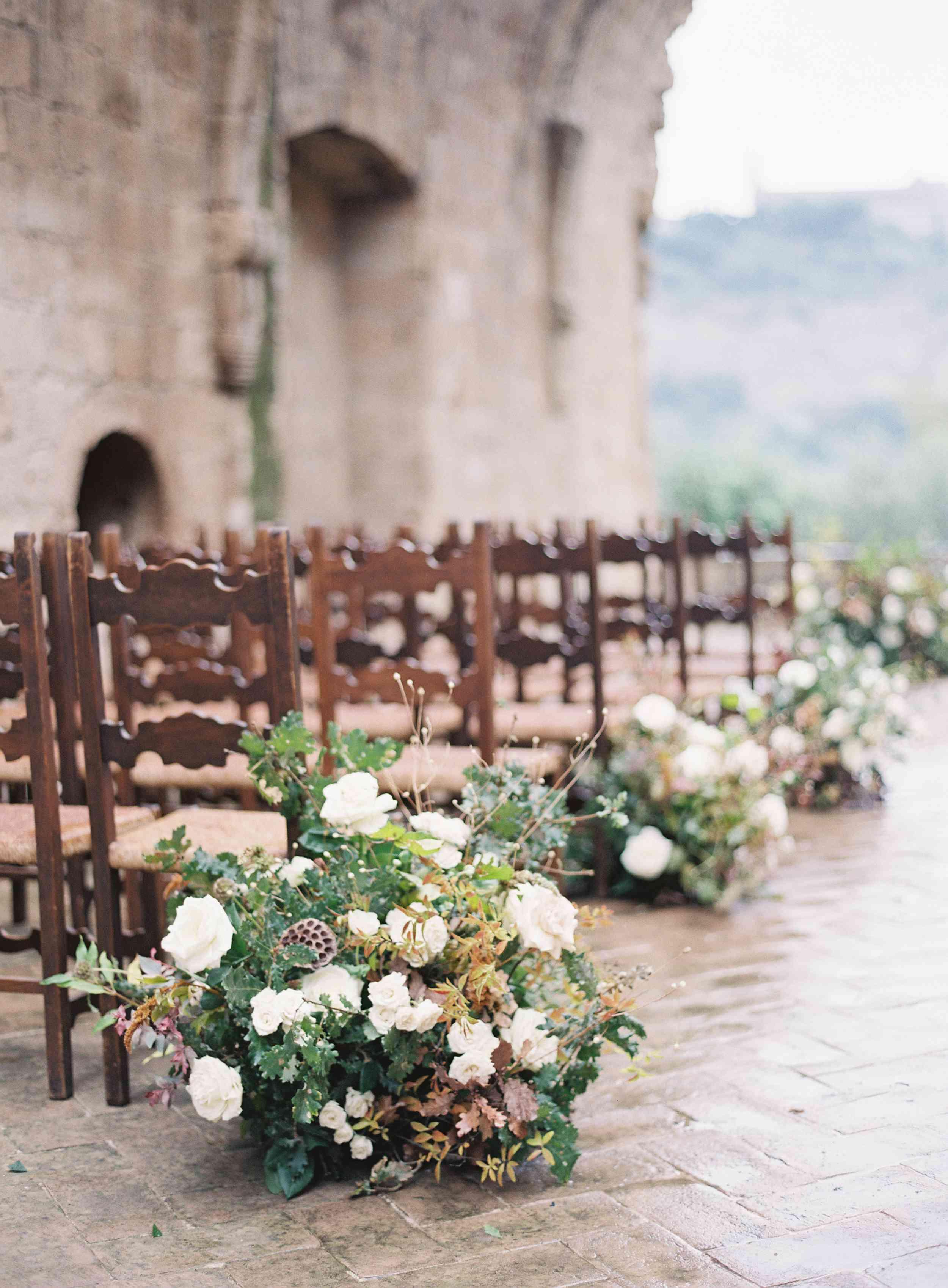 classic la badia italian wedding, ceremony flowers