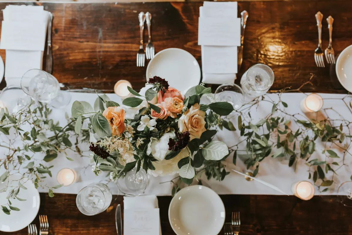 greenery and roses centerpiece