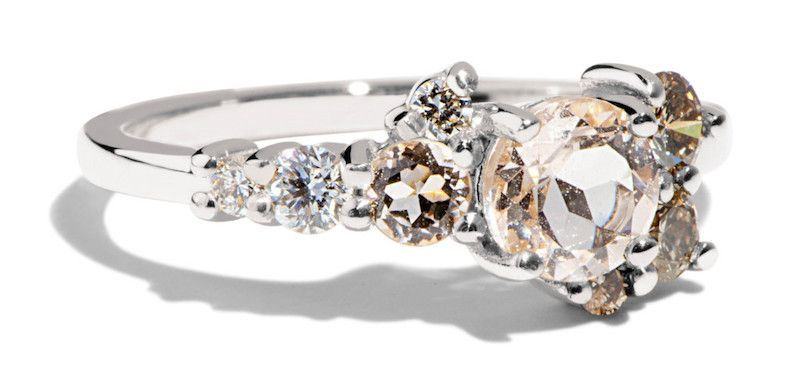 Bario Neal Burst Cluster Morganite with Diamond Ombré Ring