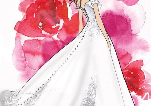 belle wedding dress sketch