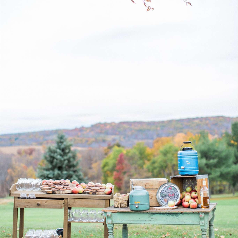 Rustic apple cider bar outdoors