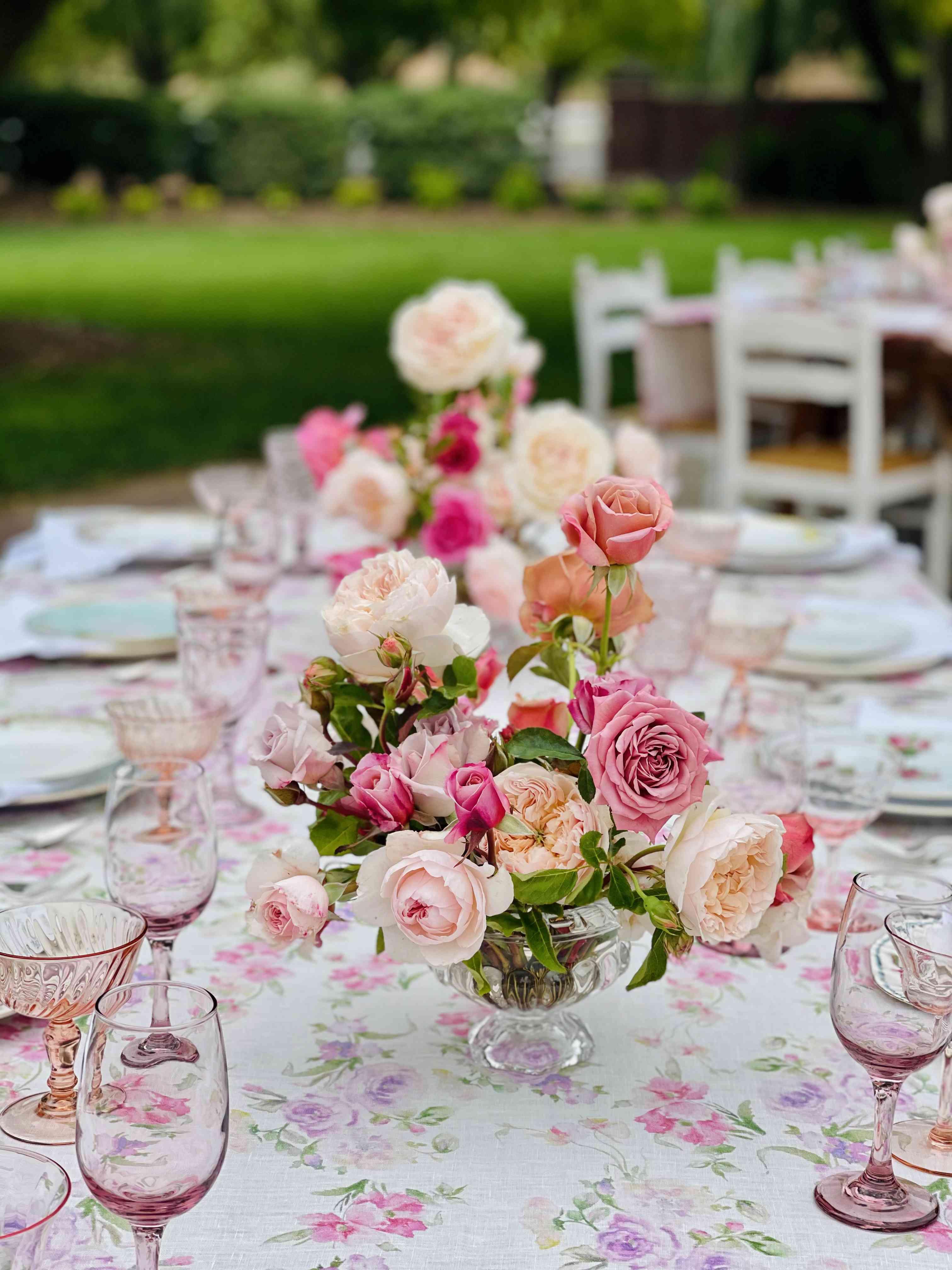 pink rose floral centerpiece