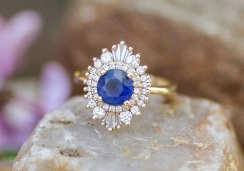 Sapphire Cluster Engagement Ring
