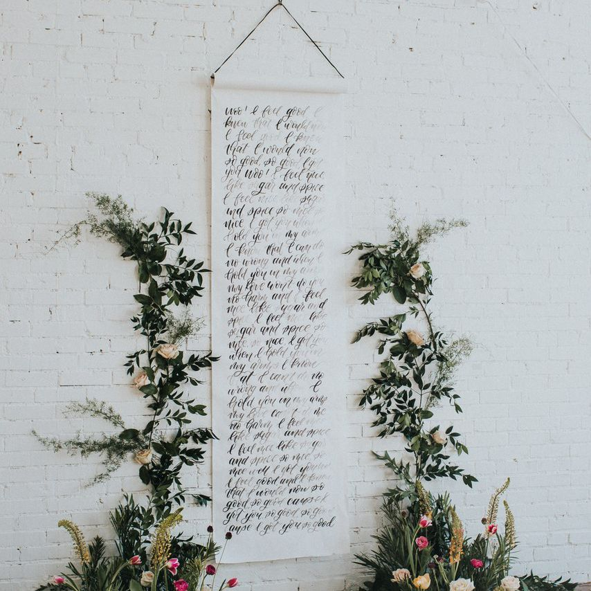 personalized wedding runner hanging on the wall