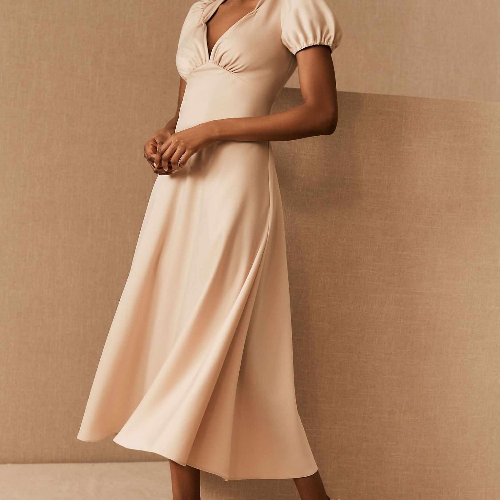 BHLDN Shelley Satin Charmeuse Midi Dress