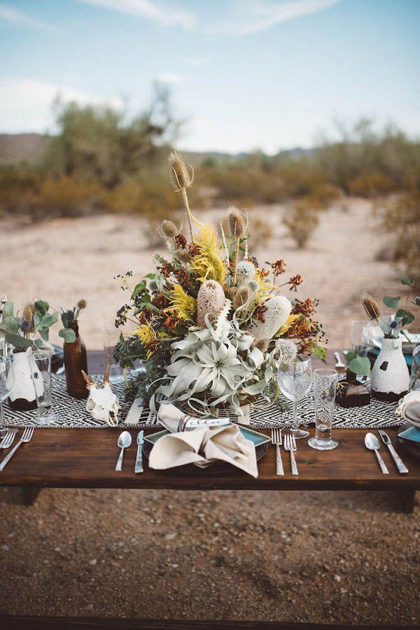 Desert-Inspired Wedding Reception Table Decor