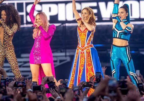 The Spice Girls perform in Dublin, Ireland.