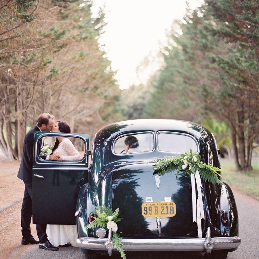 Vintage car wedding exit