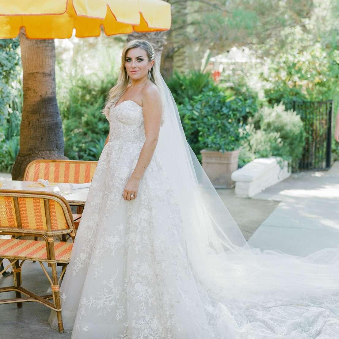 bride under umbrella