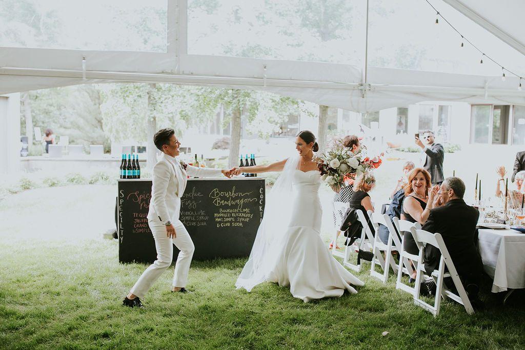 The couple dances