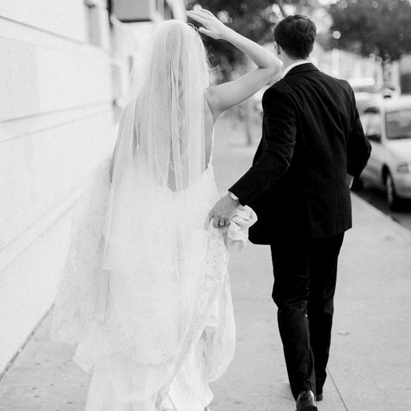 Bride and groom shot from behind