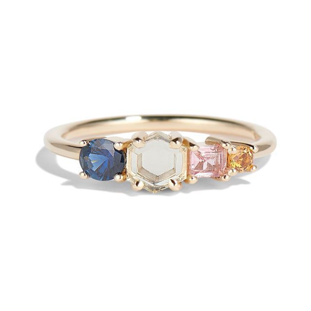 Bario Neal Linear Hex Sapphire Ring