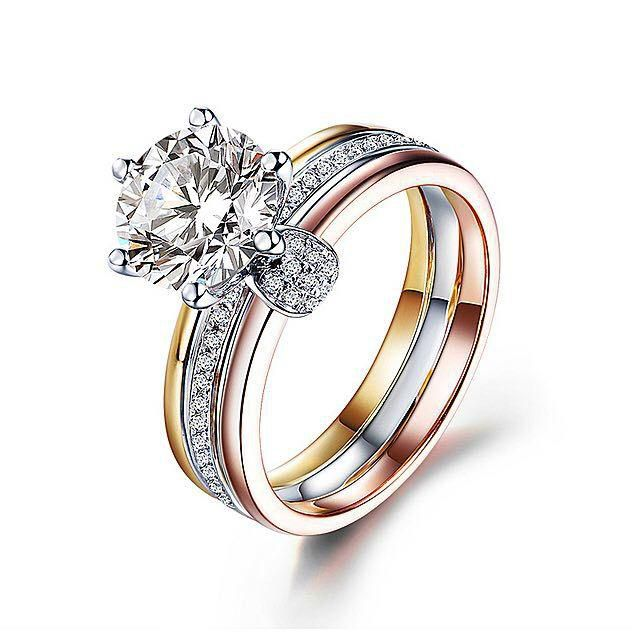 Three Tone Round Cut Stainless Steel Engagement Ring