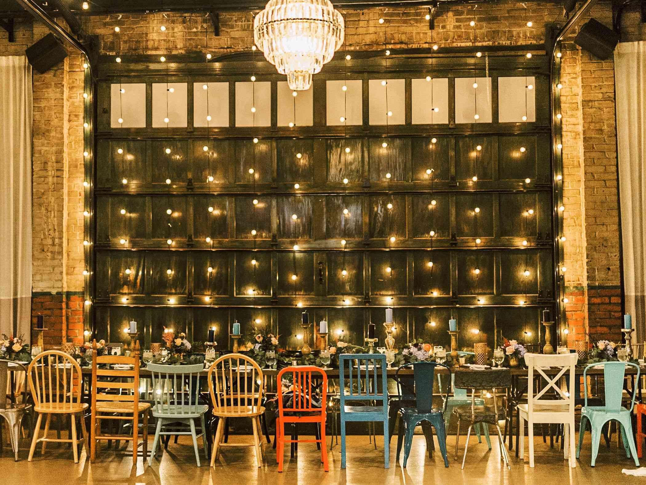 whimsical savannah wedding, mismatched chairs reception decor