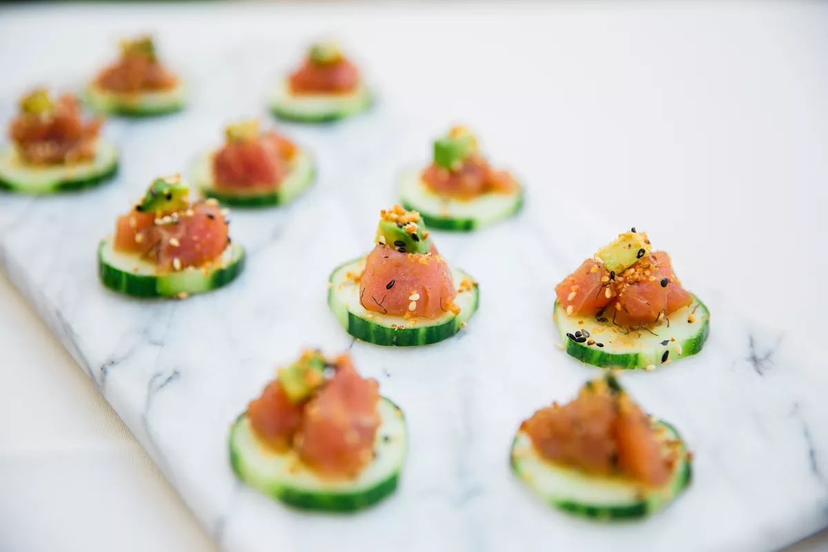 sliced cucumber appetizer